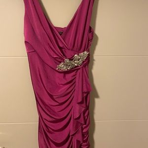 Magenta ruched mini dress with embellishment